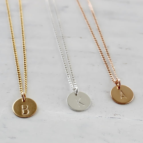 gold initial necklace • gold necklace • personalized necklace • gold and silver initial disc • B082