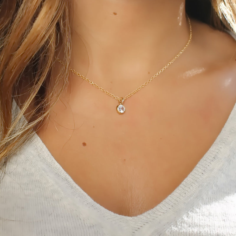 Gold Necklace • CZ Necklace • Gold Filled Solitaire Necklace • CZ Bezel • Rose Gold • Silver • B107