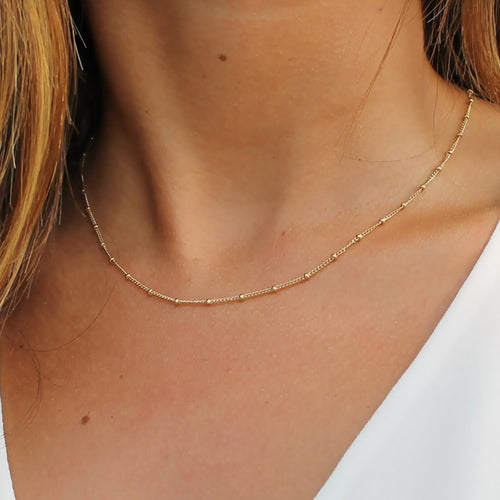 Gold Satellite Necklace • Gold Necklace • Dainty Layering Necklace • Satellite Chain Necklace • B108