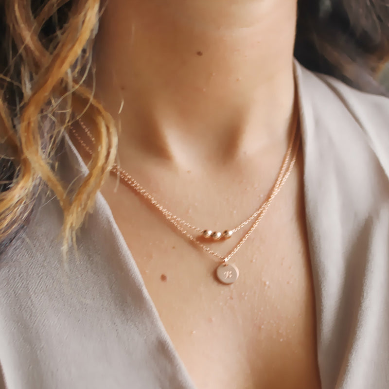 Rose Gold Layered Necklace • Personalized Necklace • 14K Rose Gold Filled • Gold Initial Disc • B117
