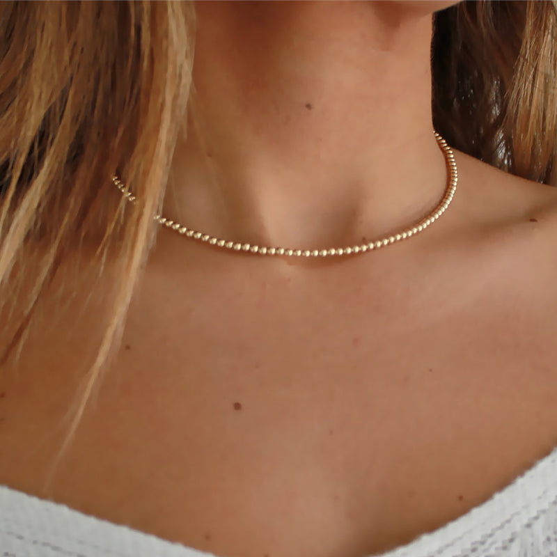 Dainty Gold Beaded Necklace
