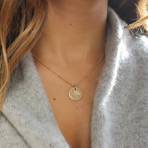 gold tree of life necklace • 14K gold filled satellite chain • gold filled tree of life disc • B172