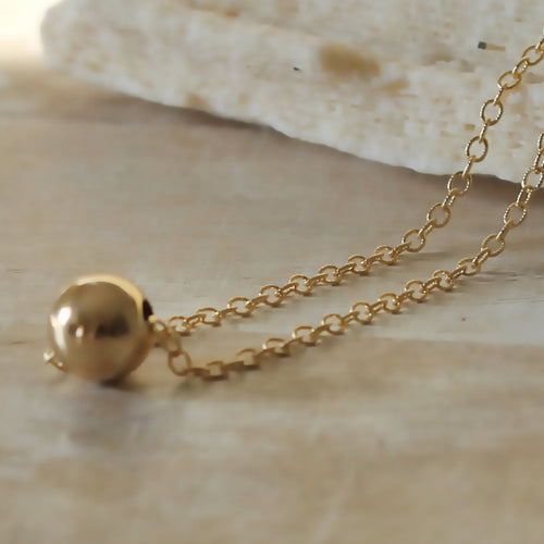 Gold ball Necklace • Single Bead Necklace • Gold Dot Necklace • Gold Filled • Bridesmaid Gift • B191
