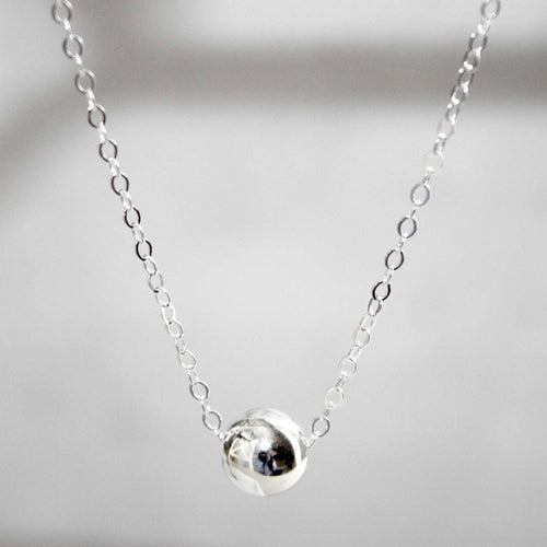 Sterling Silver Necklace • Silver Pea Necklace • 8mm Bead Necklace • Silver Dot Necklace • B198