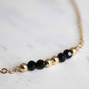 Gold Nugget with Black Beads Necklace • Dainty Gold Nugget Necklace • Dainty Gold Necklace • B215