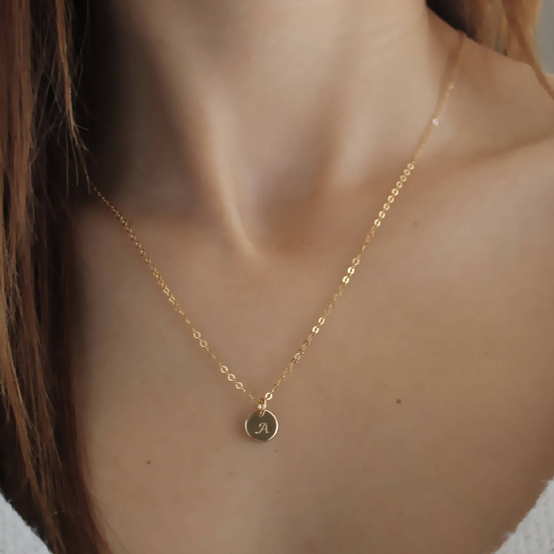 Gold Initial Necklace • Gold Initial Disc Necklace • 14K Gold Filled • Personalized Necklace • B223