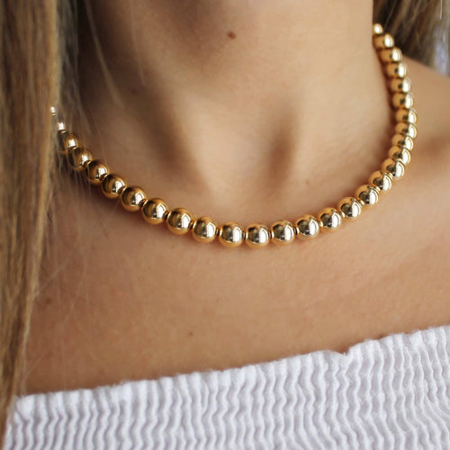 Gold Beaded Necklace • 14K Gold Filled Beaded Necklace • Beaded Chain Necklace • 8mm Beads • B224