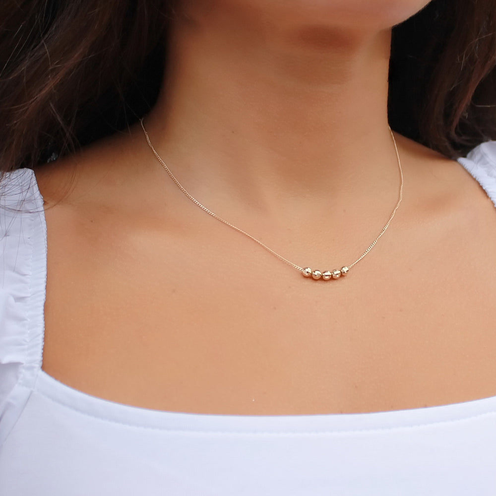 14K Solid Gold Beaded Necklace • B282