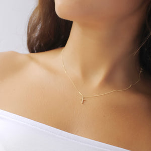 14K Solid Gold Cross Necklace • B285