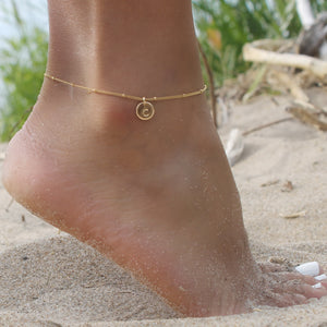 Initial Disc Satellite Anklet • B286