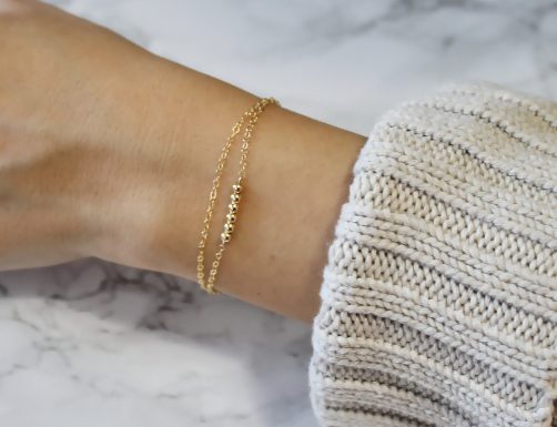 Dainty Gold Beaded Bracelet • B252