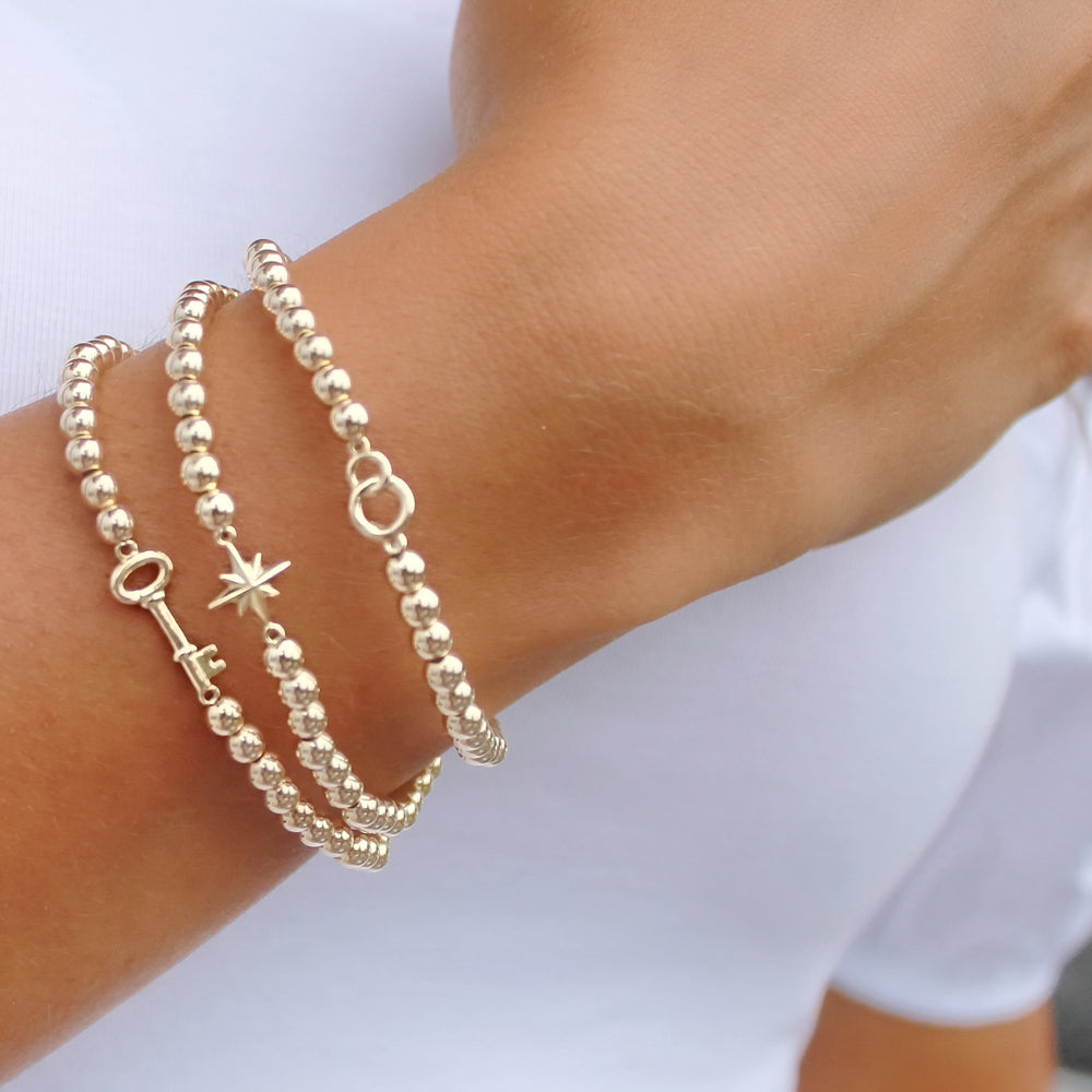 14K Solid Gold Star Bracelet • B283