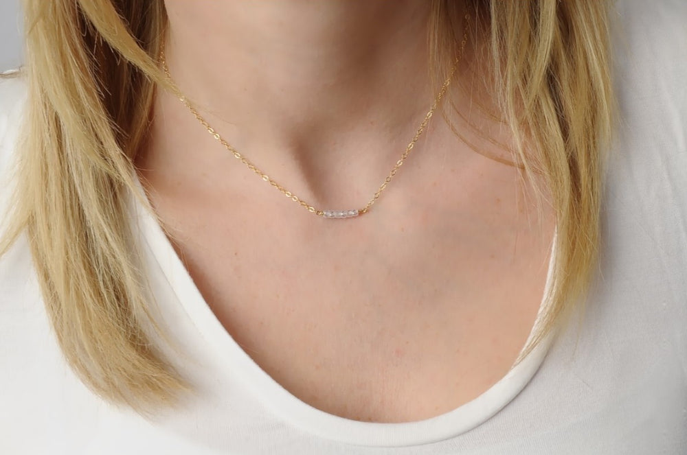 Dainty Gold Necklace • Cubic Zirconia Nugget Necklace • Minimalist Necklace • Gift For Her • B263