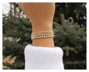 Gold Beaded Bracelet • 14K Gold Filled Gold Bracelets • Sterling Silver • Gold Bead Bracelet • B014