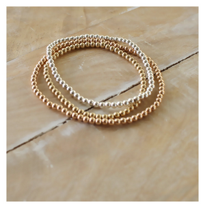 Gold Beaded Bracelet • Sterling Silver Beaded Bracelet • Rose Gold Beaded Bracelet • B022
