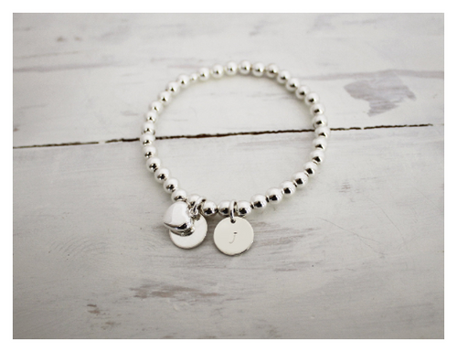 Silver Personalized Heart Beaded Bracelet • B025
