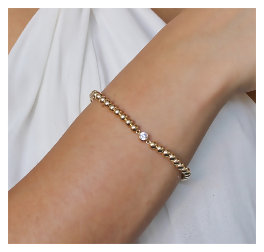 Gold Beaded Bracelet • CZ Beaded Bracelet • 14K Gold Filled Bracelet • Gold Stackable Bracelet B035