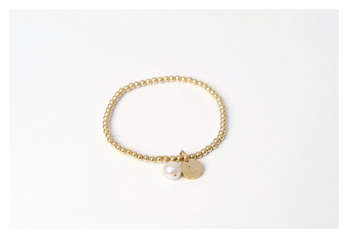Gold Beaded Pearl Bracelet • B043