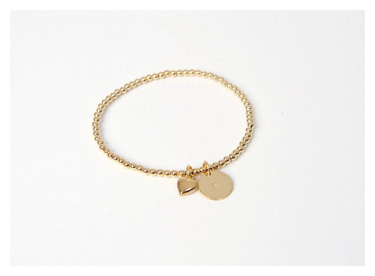 Gold Heart Initial Beaded Bracelet • B047
