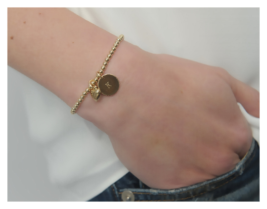 Gold Bead Bracelet • 14K Gold Filled Beads • Gold Stackable Bracelet • Personalized Bracelet • B047