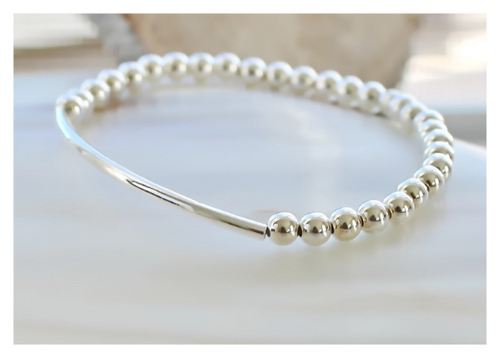 Sterling Silver Beaded Bracelet • 4mm Sterling Silver Beads • Stackable • Layered Bracelet • B061