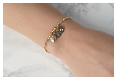 Personalized Bead Bracelet • Initial Bracelet • Gold filled Bead Bracelet • Gift For Her • B065