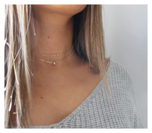 Gold Bead Choker Necklace • Wrap Choker Necklace • Choker Necklace • Rose Gold • Sterling • B229