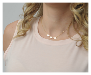 Gold Star Necklace • Three Stars Necklace • Minimalist Gold Filled Necklace • Gift For Her • B262