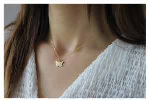 Butterfly Necklace • Gold Filled Butterfly Charm Necklace • Butterfly Pendant • Gift for Her • B267