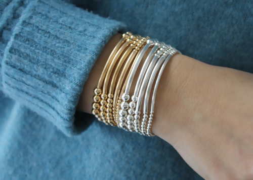 14K Gold Filled Beaded Bracelet • Beaded Tube Bracelet • Sterling Silver Beaded Bracelet • B269
