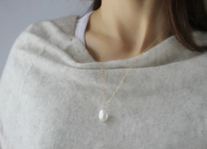 Pearl Necklace • Baroque Pearl Pendant Necklace • 14K Gold Filled Necklace • Bridesmaids Gift • B273