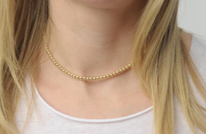 Gold Bead Necklace • 14K Gold Filled or Sterling Silver Bead Necklace • 4mm Beaded Necklace • B274