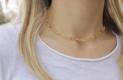 Large Link chain Necklace • Paperclip Chain Chunky Necklace • 14K Gold Filled Sterling Silver • B275