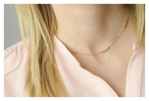 Dainty Gold Filled Necklace • Gold Bead Necklace • Bead Necklace • Minimalist Necklace • B277