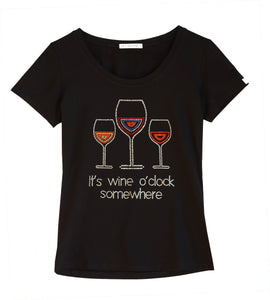 """It's Wine O'clock Somewhere"" fun t-shirt embellished with rhinestones"
