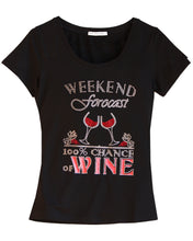 """Weekend Forecast 100% Chance of Wine"" fun t-shirt embellished with rhinestones"