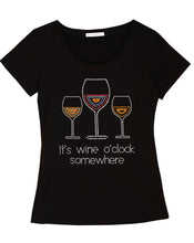 It's Wine O'clock Somewhere Fun Women T-shirt with Rhinestones For Wine Lovers