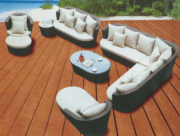 Ideal for Big Families Or Big Events ! Gorgeous 9 Pcs Multifunctional Patio Set For Up To 12 Prs