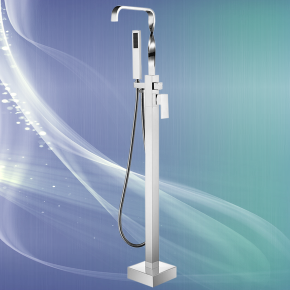 Spiral  Freestanding  Floor Mounted  Tub Faucet In Polished Chrome & Handshower