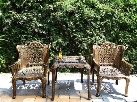 Popular And Maskuline 3 Piece Bronze Cast  Outdoor  Set