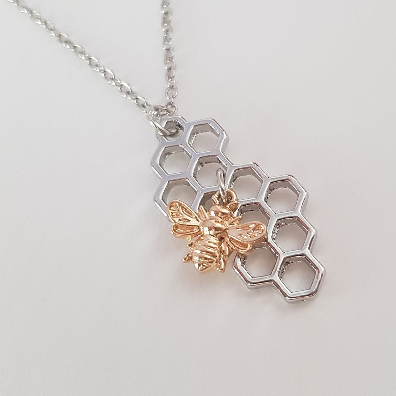 Honey Bee Necklace Silver