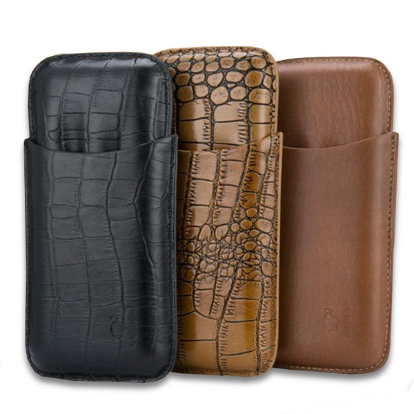 COHIBA Alligator Pattern Leather Cigar Case W/ Free Cigar cutter - CedarHumidor