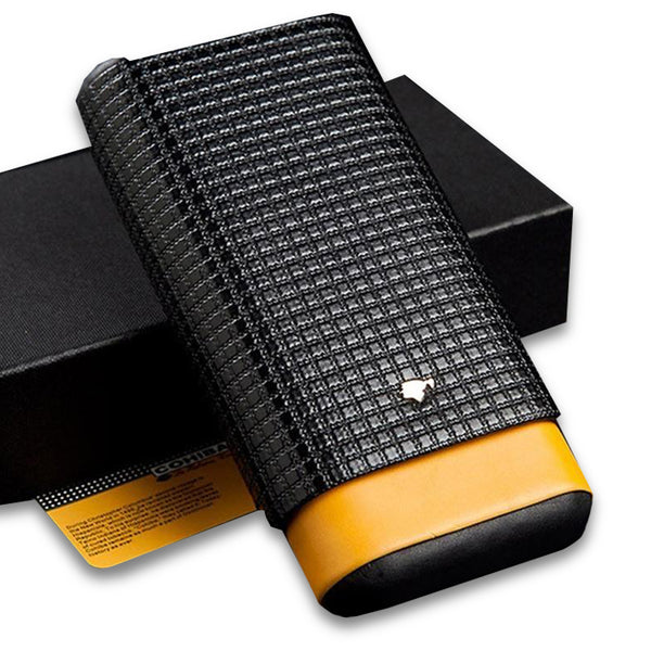 Cohiba Black Leather Cedar Lined 3 Tube Cigar Case - CedarHumidor