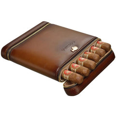 COHIBA Leather Cedar Lined 6 Tube Cigar Case Humidor W/ Humidifier - CedarHumidor