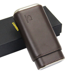 Cohiba Genuine Leather Cedar Lined 3 tube Case - CedarHumidor