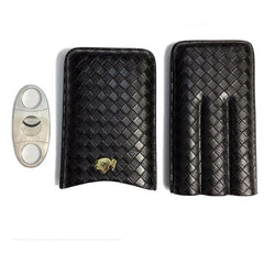 COHIBA Black Leather Cigar Case for 3 with Stainless Steel Cutter in Gift Box - CedarHumidor