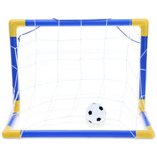 Folding Children's Mini Soccer Goal includes a Ball Pump and a Mini Soccer Ball