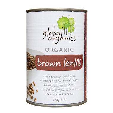 Global Organics Brown Lentils (BPA Free Can) 400g