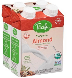 Pacific Foods Organic Almond-Vanilla Drink 4 Pack (240ml each)