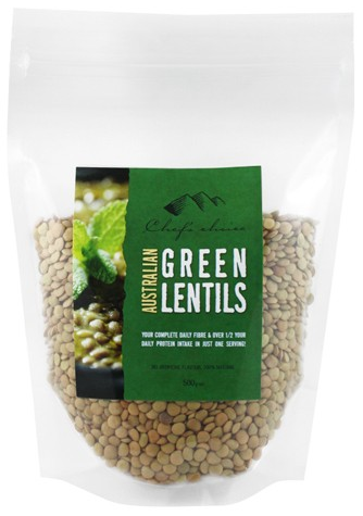 Chef's Choice Australian All Natural Green Lentils 500g